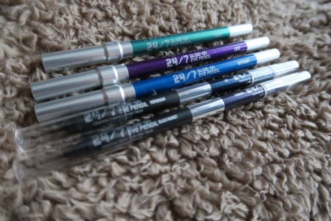 A line of Urban Decay 24/7 Glide On Eye Pencils in various colours