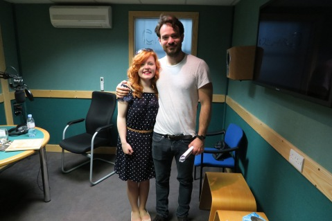 Lucy and Marvel's Daredevil star Charlie Cox standing side by side after she interviewed him for Living Paintings