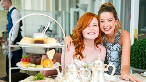 Landscape photo of Lucy and YouTube star Zoella in the Grand Brighton Hotel